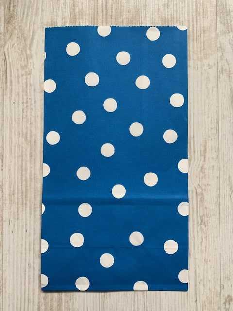 blokbodemzakje blauw met witte stippen