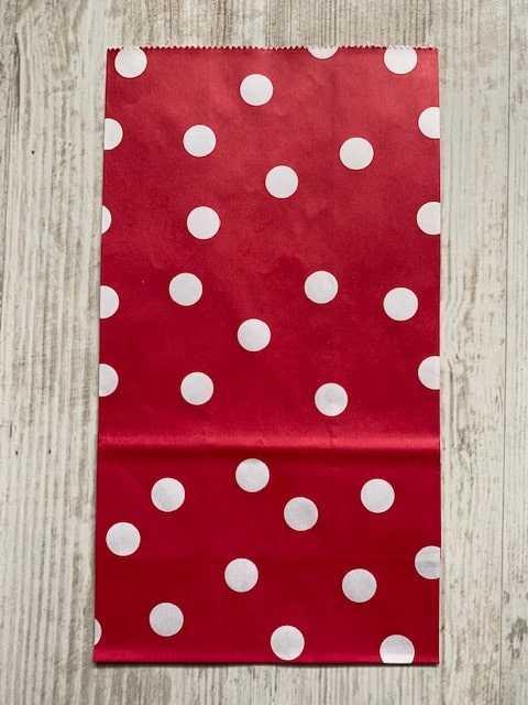 blokbodemzakje rood met witte stippen