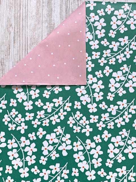 inpakpapier groen bloemetjes