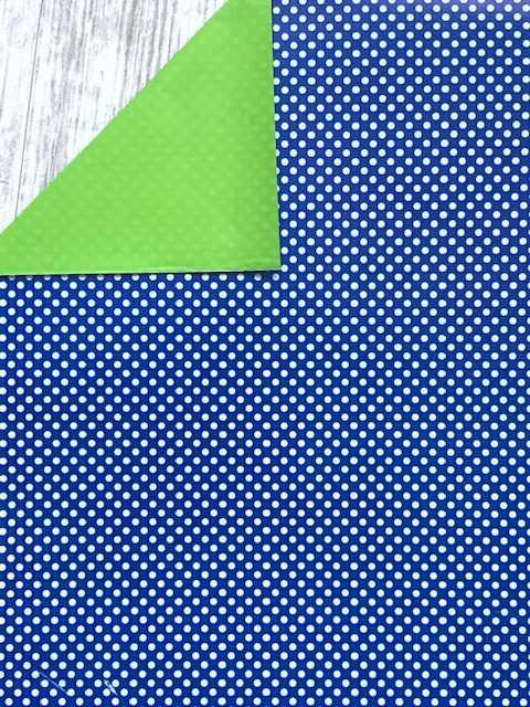 Inpakpapier Polkadot Blauw met Witte Stippen